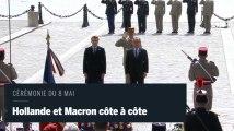 Hollande et Macron, côte à côte pour la cérémonie du 8 Mai
