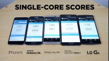 LG G4 vs Galaxy S6 vs iPhone 6 vs HTC One M9 vs Galaxy Note 4 - Benchmark Test