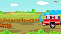 Colors Car - The Red Fire Truck and CRASH in the City Emergency Vehicles | Cars & Truck Cartoon
