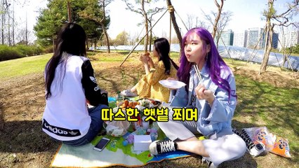 Taiwanese Black Noodle+Fried Chicken+Octopus Soup+Burger etc.Food for 3Days[Spring Picnic] 봄소풍 즐기기