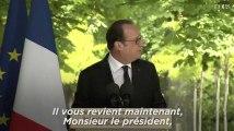 """Hollande à Macron : """"C'est à vous, cher Emmanuel, de porter ce message"""""""
