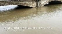 Crue de la Seine 3ème jour (Seine in spate 3rd day) - Pont des Invalides - 02/06/2016  (2/3)