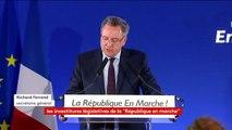 """428 candidats la République en marche pour les législatives, """"214 hommes et 214 femmes, 52% issus de la société civile"""", dit Richard Ferrand"""