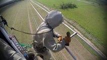 Intervention en hélicoptère sur des lignes électriques à haute tension !