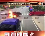 Watch: Chinese motorcyclist caught in explosion after bike hits truck