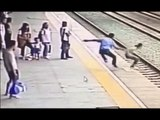 Heart-stopping: Suicidal woman saved at last second from approaching train in China