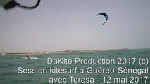 Session kitesurf à Guéréo-Sénégal avec Teresa - 12 mai 2017