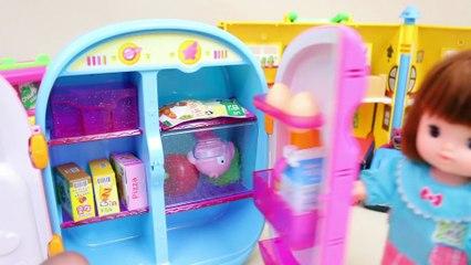 Refrigerator Baby doll toy 'Make milk ice cream' kid play - Toyfamily 달님이 냉장고 장난감 콩순이 아기인형 아이스크림 만들기 놀이 - 토이패밀리