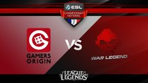 LoL - Gamers Origin vs War Legend - ESL Championnat National - Summer 2017