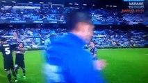 Sergio Ramos and Lucas Vazquez celebrate Real Madrid's win over Celta Vigo in front of Marcelo