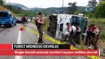 Muğla-Denizli yolunda otobüs devrildi