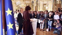 Cérémonie de passation de pouvoirs entre Audrey Azoulay et Françoise Nyssen le 17 mai 2017