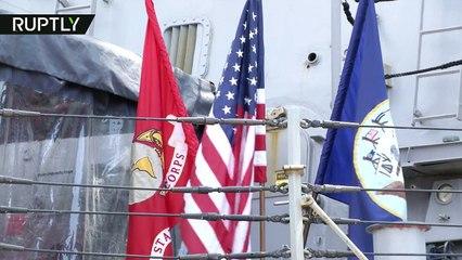NATO Destroyer USS Oscar Austin docks in Bulgaria during Black Sea mission