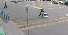 Une femme vole un caddie plein dans un supermarché mais se rate dans sa fuite !