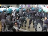 'No to Renzi!': Violent scuffles erupt between anti-govt protesters and police in Florence