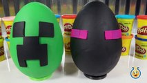 Giant Minecraft Creeper & Enderman Play Doh Surprise Eggs with Minecraft Hangers & Netherrack Toys-LT