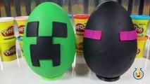 Giant Minecraft Creeper & Enderman Play Doh Surprise Eggs with Minecraft Hangers & Netherrack Toys-LTYakA