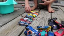 Hot Wheel Cars In The Potty and Toy Crane Fun-Mkc5
