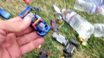 Hot Wheel Cars In The Potty and Toy Crane Fun-M