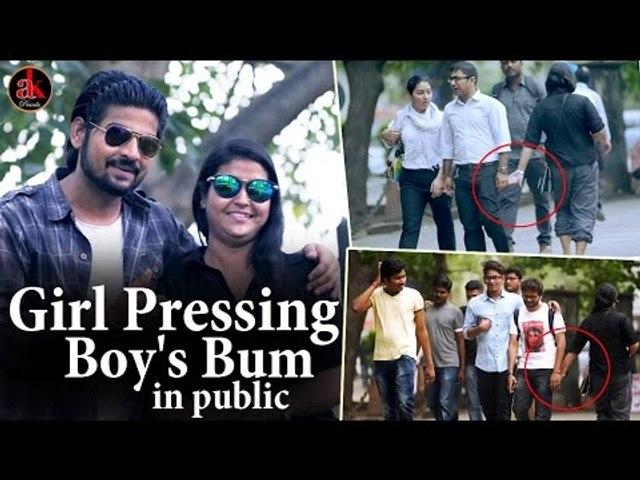 Girl Hitting Boy's Bum In Public || So Funny Bum Touch Prank In Public || Ak Pranks