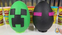 Giant Minecraft Creeper & Enderman Play Doh Surprise Eggs with Minecraft Hangers & Netherrack Toys-LTYa