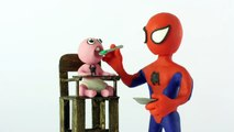 Baby vomits on spiderman superheroes Stop motion Play Doh claymation animation video-E8