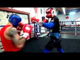 Pro Boxer (black) Sparring A Kickboxing Champ (red) Check It out - esnews boxing