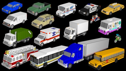 3D Street Vehicles - Cars and Trucks - The Kids' Picture Show (Fun & Educational Learning Video)