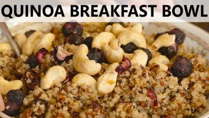 Quick & Easy Healthy Breakfast Recipe! Quinoa Breakfast Bowl, High Protein Snack
