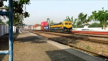 Double Stack Container Freight Train with Dual Cab Diesel Locomotive