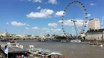The London Eye is a giant Ferris wheel on the South Bank of the River Thames in London