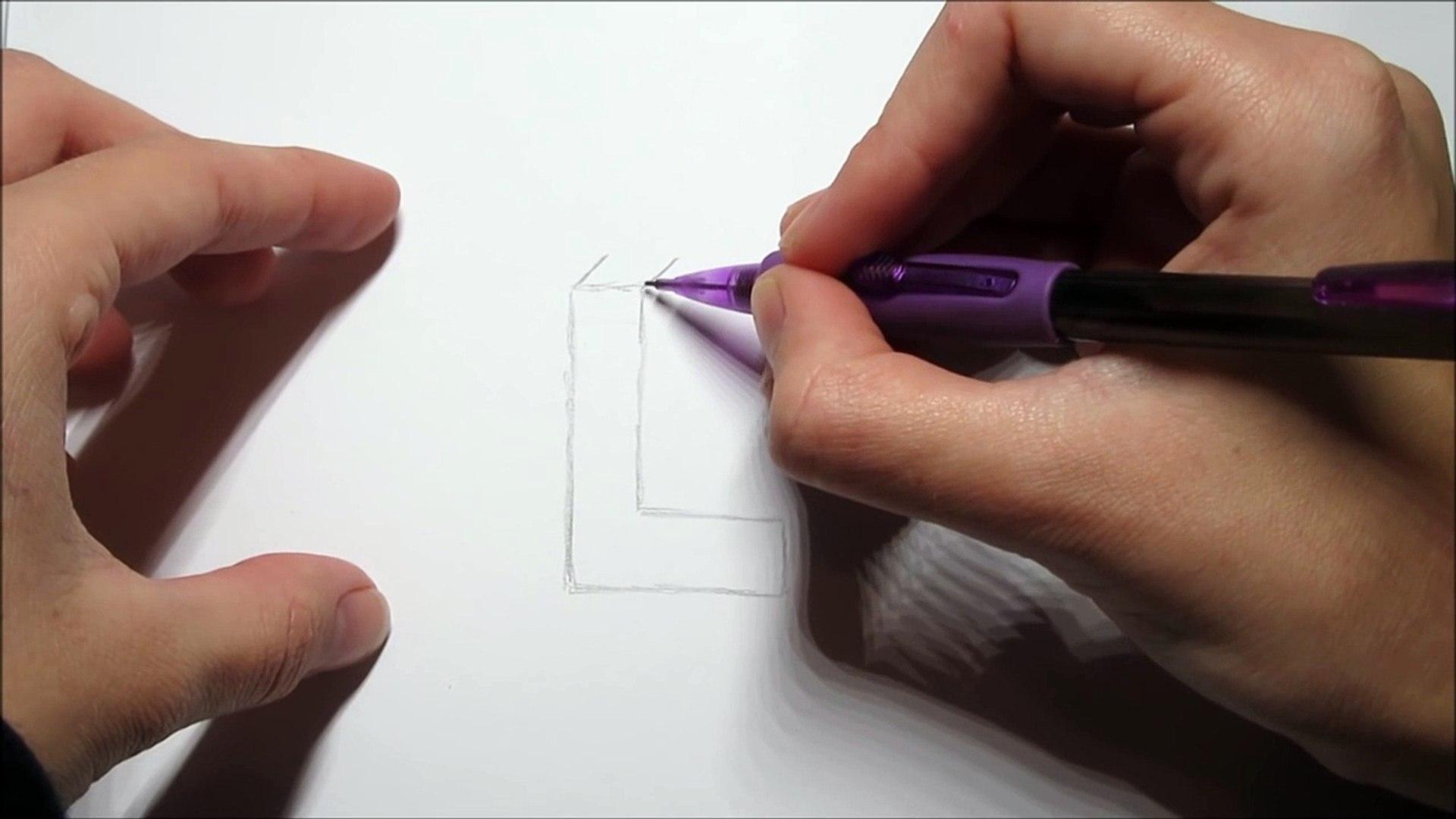Ongekend 3D tekening! Zwevende LETTERS tekenen makkelijk voor beginners QE-35