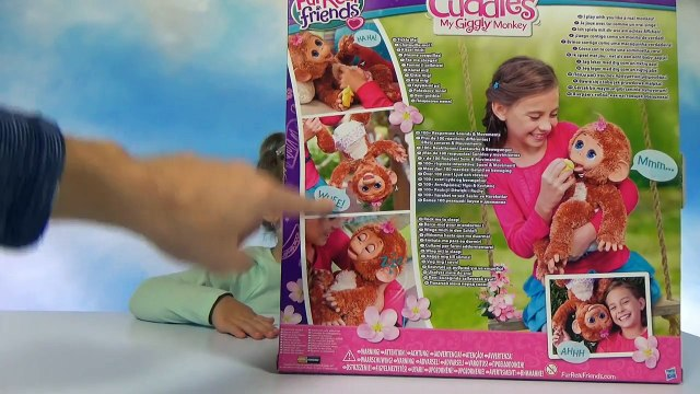 Обезьяна Интерактивная игрушка распаковка FurReal Friends Cuddles My Giggly Monkey unboxin