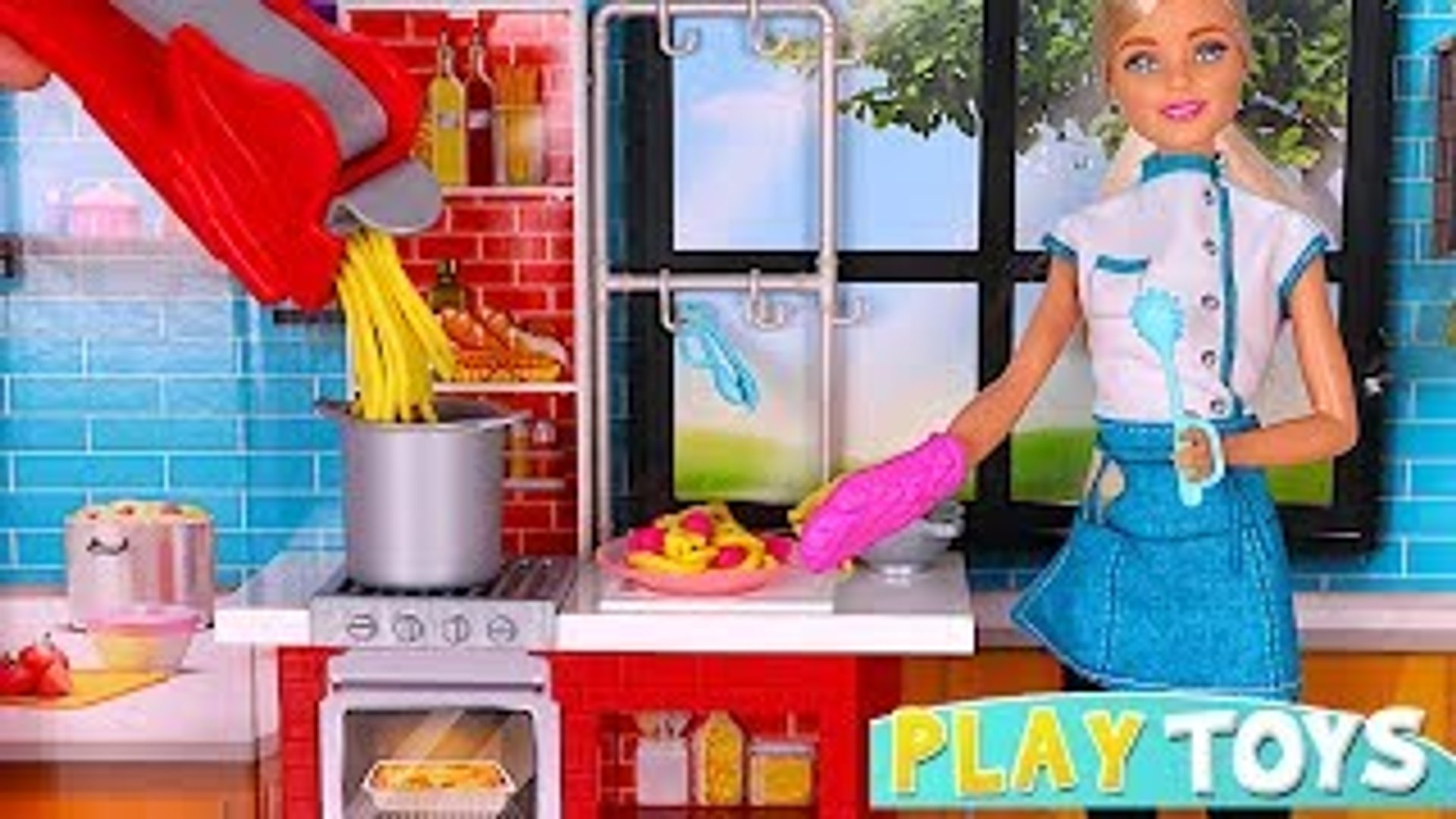 Barbie Doll Kitchen Toys Playing Barbie Chef Cooking Pasta Toy Food Barbie Doll Morning Routine Dailymotion Video
