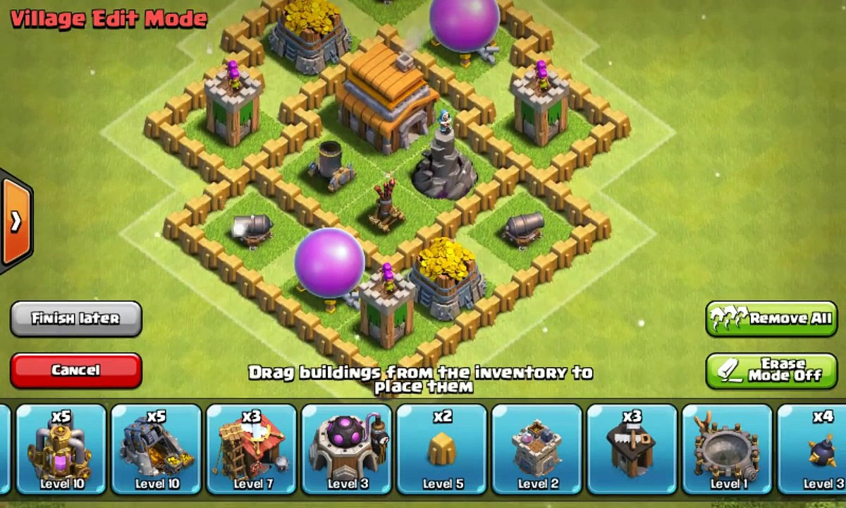 Clash of Clans Town Hall 5 Defense (CoC TH5) BEST Hybrid Base Layout Defense  Strategy - video dailymotion