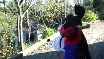 Frozen Elsa BUTT FAIL TOUCH ❤ Spiderman! w/ Frozen Anna Maleficent FUN IRL Superhero in Re