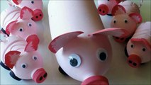 DIY Recycled Art and Crafts Ideas for Kids: How to Make Pigs Family from Plastic Bottles