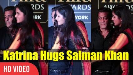 Cute Moment Katrina Kaif Hugs Salman Khan   IIFA Awards 2017 Press Conference