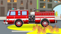 Camión de Bomberos. Dibujos animados de coches y camiones para niños en español! Carros para niños!