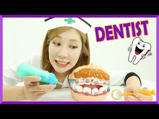 Julie playing Dentist with Play Doh Doctor Drill 'N Fill Playset!! | CarrieAndEnglish