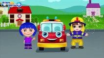 Niños para Los bomberos extinguen un fuego de dibujos animados sobre un motor de la máquina de fuego de fuego de dibujos animados