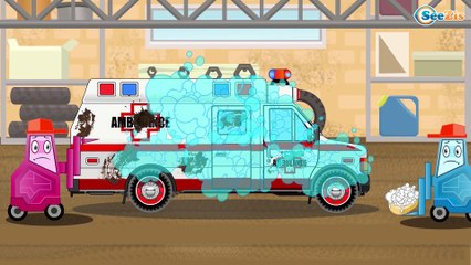 Cars for kids - The White Ambulance - Kids Channel KC - Power Wheels PW