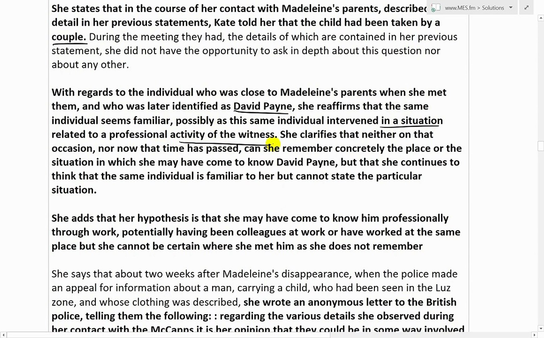 #PizzaGate PART 6: McCann Case Yvonne Martin Statements