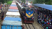 Crossing between Silkcity Express Train & container freight Train at Dhaka Railway Station of Bangladesh Railway
