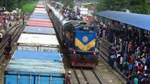 Crossing between Silkcity Express Train & container freight Train at Dhaka Railway Station of Bangladesh Railway