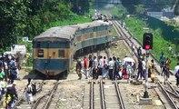 Dhaka bound Down kalni Express Train of Bangladesh Railway leaving Dhaka Airport Railway Station