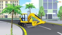 Kids Cartoon Red Bulldozer Digging with Excavator | Construction Trucks Cartoons for children