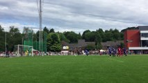 Verviers: Mpoku marque un penalty lors du match de gala opposant Verviers à Bruxelles