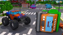 Tractor and Yellow Excavator CRASH on the Road - Children Video 3D Animation Cars Team Cartoons,Animated game cartoons 2017