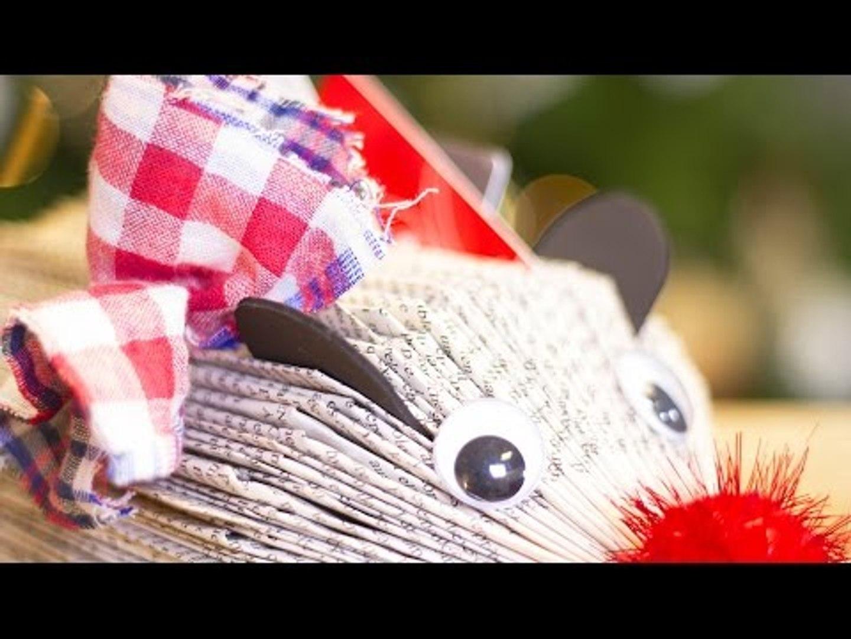 Diy Noel Fabriquer Un Herisson Porte Carte Avec Un Livre Et Du Tissu